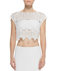Alice + Olivia Farrell Cropped Lace Coverup Top