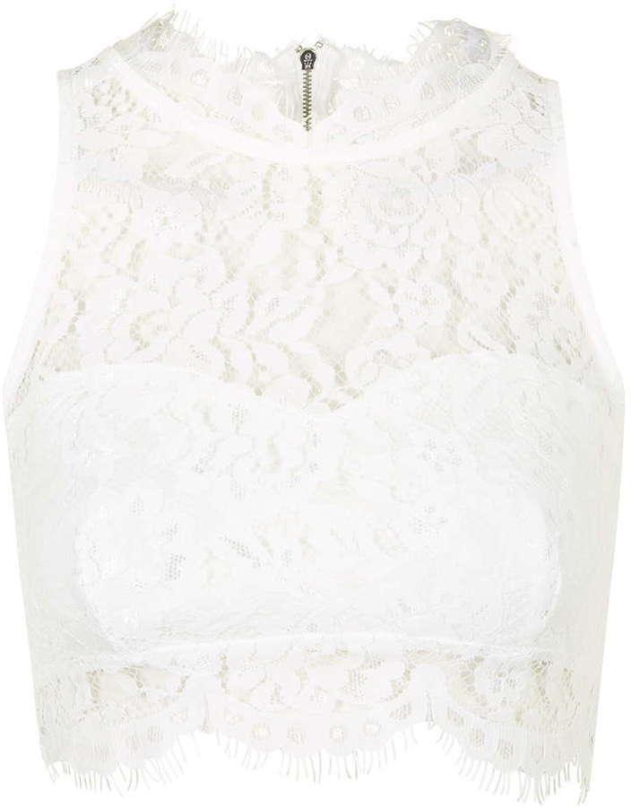 ba07659c9009a3 Topshop Lace High Neck Crop Top, $45 | Topshop | Lookastic.com