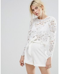 Miss Selfridge Lace Long Sleeve Crop Top