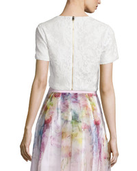 a961c815465f3f Ted Baker London Maire Short Sleeve Lace Crop Top White, $225 ...