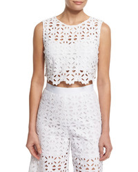 Miguelina Ruby Crocheted Lace Crop Top