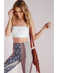 Missguided Lace Bardot Crop Top White
