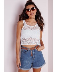 Missguided Lace Crop Top White