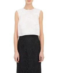 Monique Lhuillier Lace Crop Top White