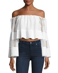 Off The Shoulder Circle Lace Crop Top White