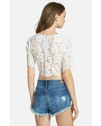 04594709f Missguided Scalloped Lace Crop Top, $42 | Nordstrom | Lookastic.com