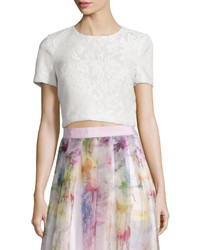 Ted Baker London Maire Short Sleeve Lace Crop Top White