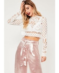 Missguided White Patterned Lace Crop Top