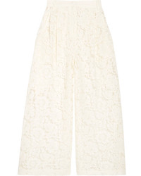 Valentino Cropped Corded Cotton Blend Guipure Lace Wide Leg Pants Ivory