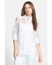 Diane von Furstenberg Lorelei 2 Sheer Lace Shirt White 14
