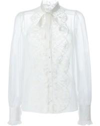 Dolce & Gabbana Floral Lace Bib Shirt