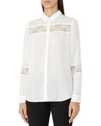 Reiss Rosanna Lace Striped Shirt