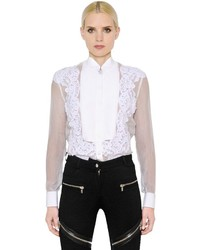 Givenchy Sheer Washed Chiffon Lace Shirt