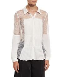 Alexis Watson Pleat Detail Lace Shirt Off White