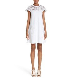 Valentino Butterfly Lace Yoke Dress