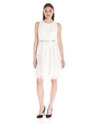Calvin Klein Lace Fit And Flare With Belt