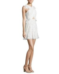 BCBGMAXAZRIA Crossover Front Fit Flare Lace Dress