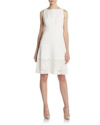 Anne Klein Lace Accented Fit And Flare Dress