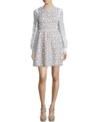 Michael Kors Michl Kors Collection Floral Lace Fit  Flare Dress Optic White