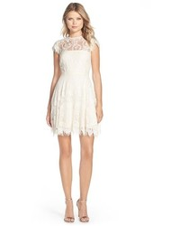 Rhianna illusion yoke lace fit flare dress medium 3752970