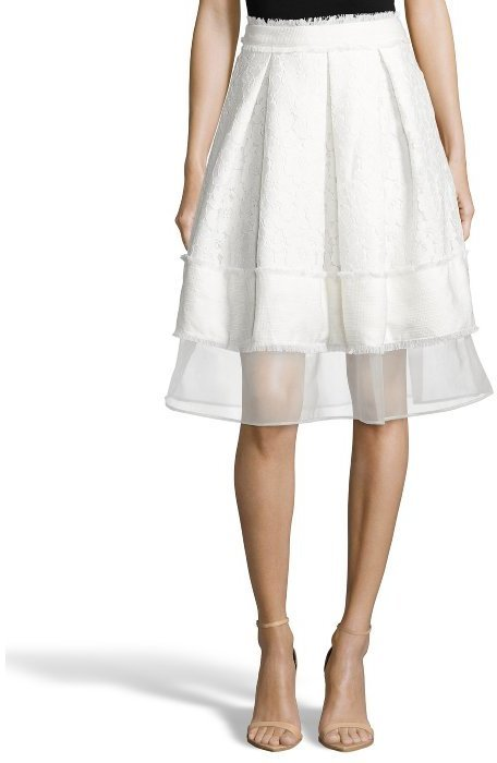 36199011a29 White Lace And Twill Leane Pleated Knee Length Skirt