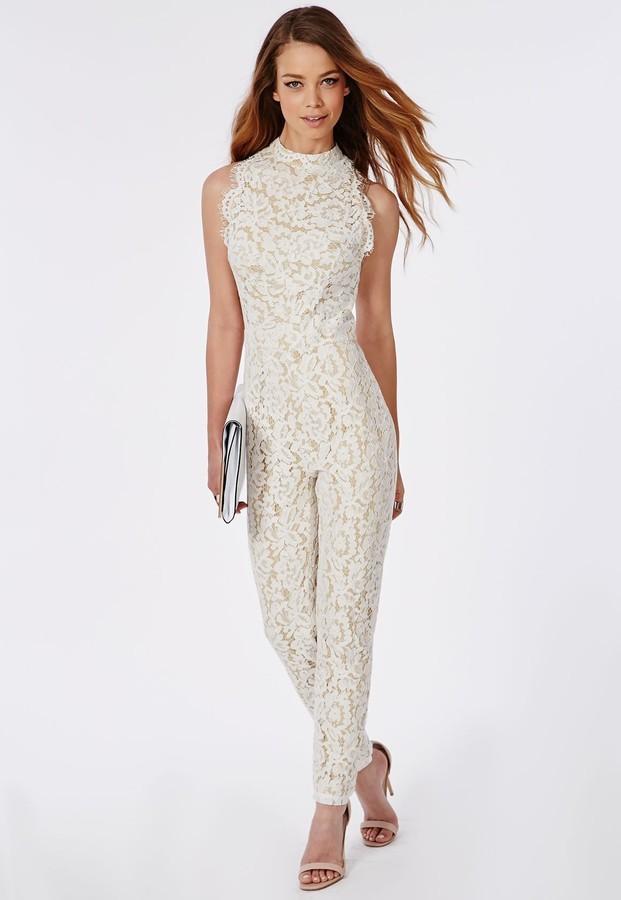 4f904832d75 ... Missguided Scallop Lace Halterneck Jumpsuit White ...