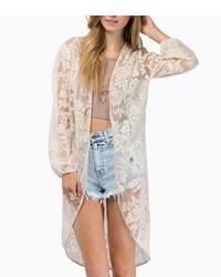ChicNova Transparent Long Sleeves Lace Kimono