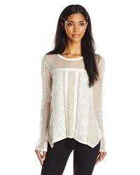 BCBGMAXAZRIA Addyson Lace Blocked Long Sleeve Shirt