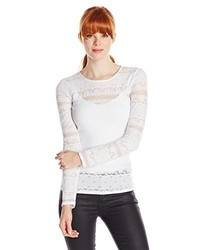 BCBGMAXAZRIA F Long Sleeve Lace Top