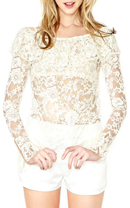 9075402be04be5 ... ChicNova White Ruffled Collar Long Sleeve Transparent Lace Crop Tops ...