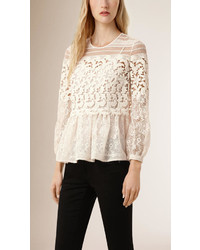 Burberry Floral Lace And Mesh Blouse