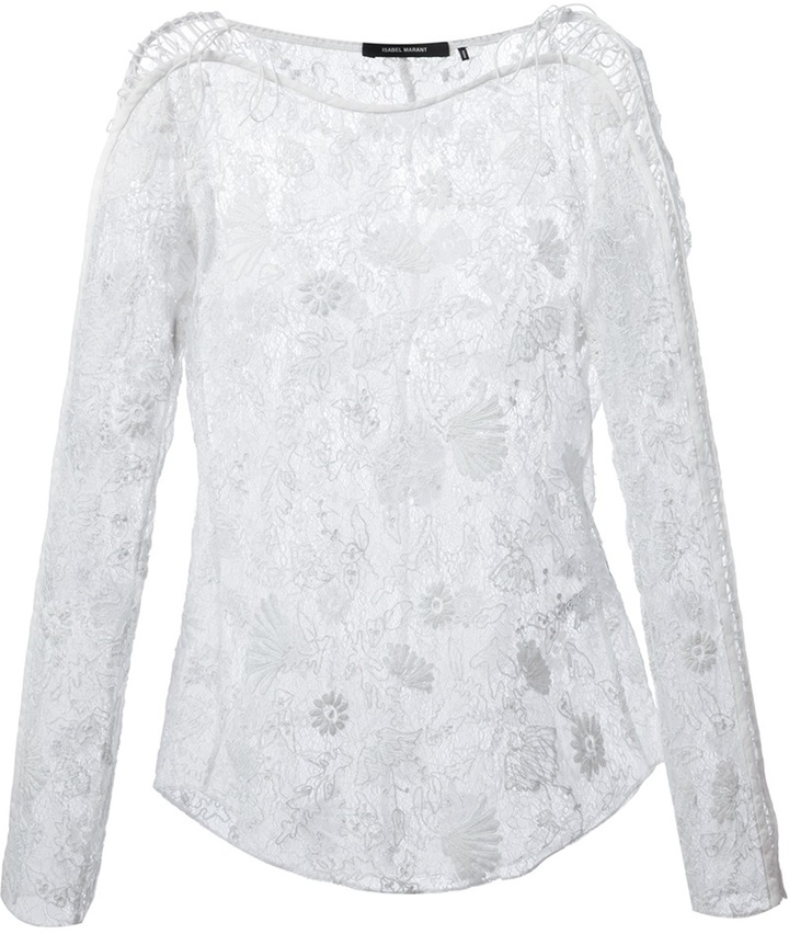 Buy Isabel Marant White Joey Lace Blouse and take advantage of internatial shipping to the UK. Short sleeve cott poplin blouse in white. Layered and ruffled cstructi featuring lace trim throughout. Crewneck collar. Self-tie fastening at back.