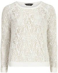 Dorothy Perkins Ivory Brushed Lace Sweat