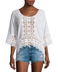 Lace inset half sleeve blouse medium 701449