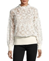 Burberry Lace Ribbed Trim Blouse