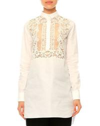 Valentino Long Sleeve Lace Bib Blouse White