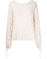 Martha Medeiros Marescot Lace Plunging Back Blouse