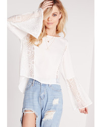 Missguided Lace Insert Silky Dip Back Blouse White