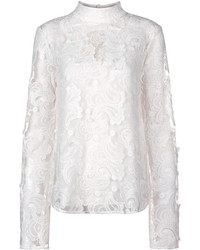 Perseverance London Ivory Paisley Embroidered Lace Blouse