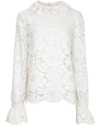 Philosophy Di Lorenzo Serafini Ivory Collared Lace Blouse