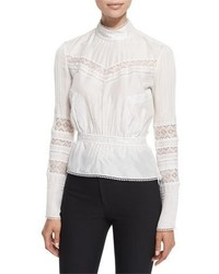 Derek Lam 10 Crosby Pintucked Silk Lace Trim Blouse Soft White