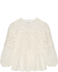 Burberry Prorsum Paneled Cotton Blend Lace Peplum Blouse Off White
