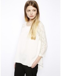 Vila Lace Sleeve Dip Back Top