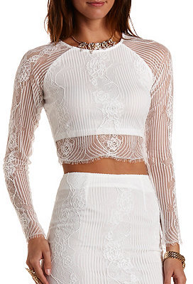 b09c022476c9f6 ... Charlotte Russe Long Sleeve Lace Crop Top ...