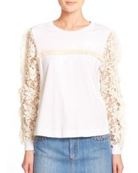 See by Chloe Lace Detail Cotton Tee
