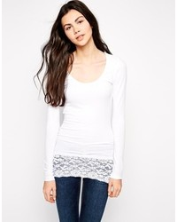 Only Live Love Long Sleeve Top With Lace Trim