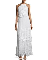 Miguelina Edna Crocheted Lace Halter Maxi Dress
