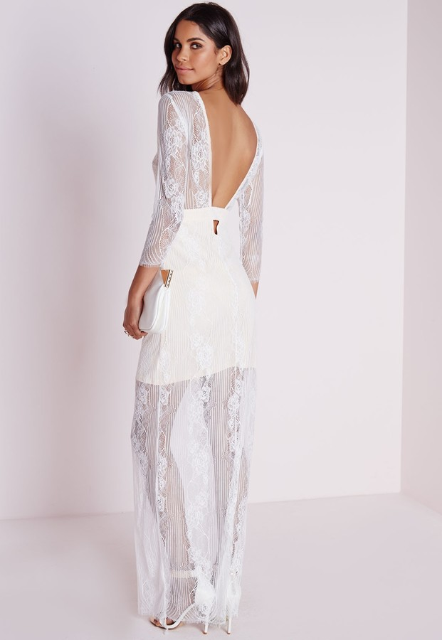 6d3008e62f1 ... Missguided Lace Long Sleeve Maxi Dress White ...