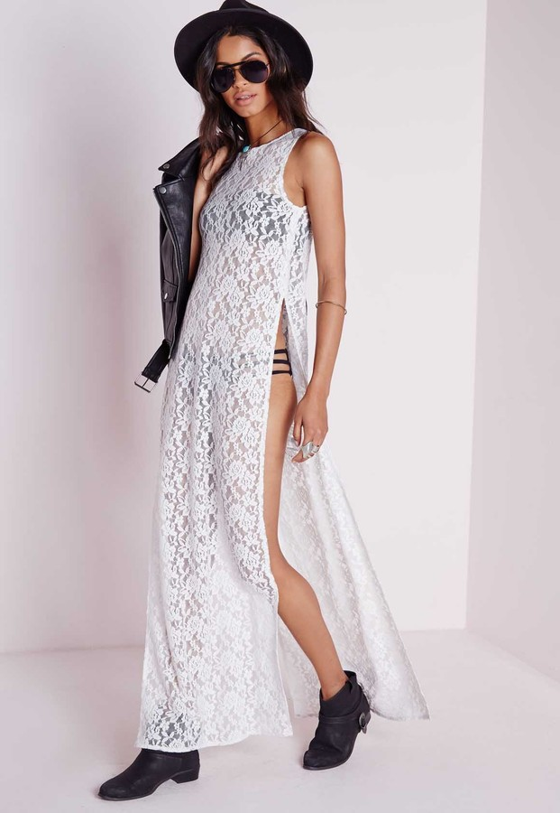 Missguided Sheer Lace Side Split Maxi Dress White | Where to buy ...