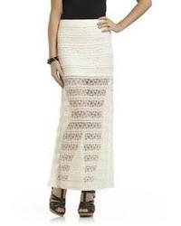 Heart soul juniors sheer bottom crocheted lace maxi skirt medium 57381
